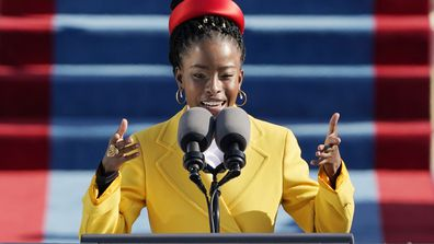 American poet Amanda Gorman reads a poem during the 59th Presidential Inauguration at the U.S. Capitol in Washington, Wednesday, Jan. 20, 2021