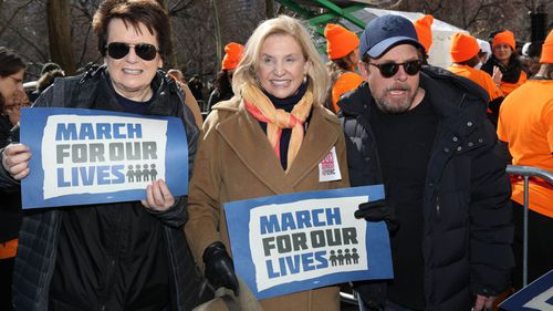 Billie Jean King, Caroline Mulroney and Michael J. Fox at March For Our Lives in New York City. (AP).
