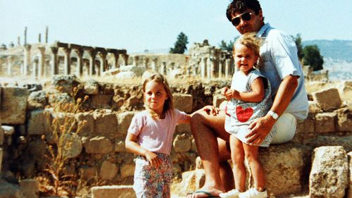 It was here that a photo showing Kate Middleton, sister Pippa and father Michael at the same site in the 1980s was erected for his William's. Picture: AP