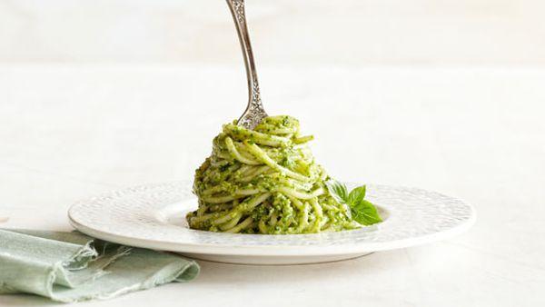 Basil walnut pesto spaghetti