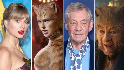 Cats, movie, actors, characters, before, after, costumes, Taylor Swift, Ian McKellan