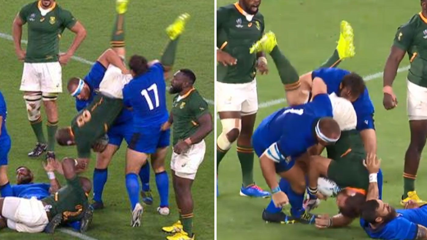 Rugby World Cup: Springboks outmuscle 14-man Italy after horror Lovotti tackle