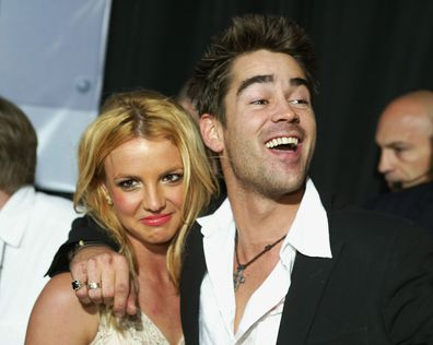 Britney Spears and Colin Farrell arrive at the premiere of The Recruit in 2003.