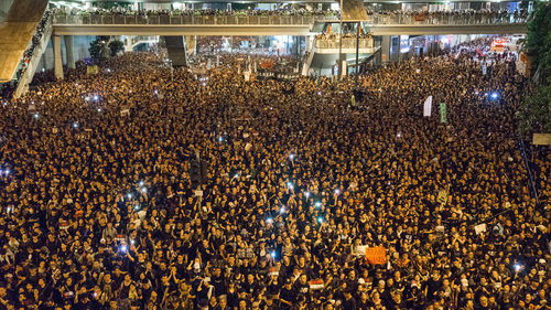 Protesters marched through the streets of Hong Kong during the mass rally.