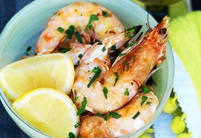 Barbecued king prawns