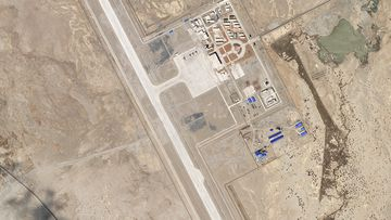In this satellite image provided by Planet Labs, the Ngari Günsa civil-military airport base taken on April 1, 2020, near the border with India in far western region of Tibet in China shows development around the airport