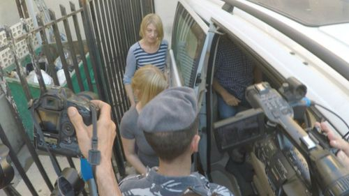 Tara Brown and Sally Faulkner leave prison in Beirut. (9NEWS/@TomSteinfort)
