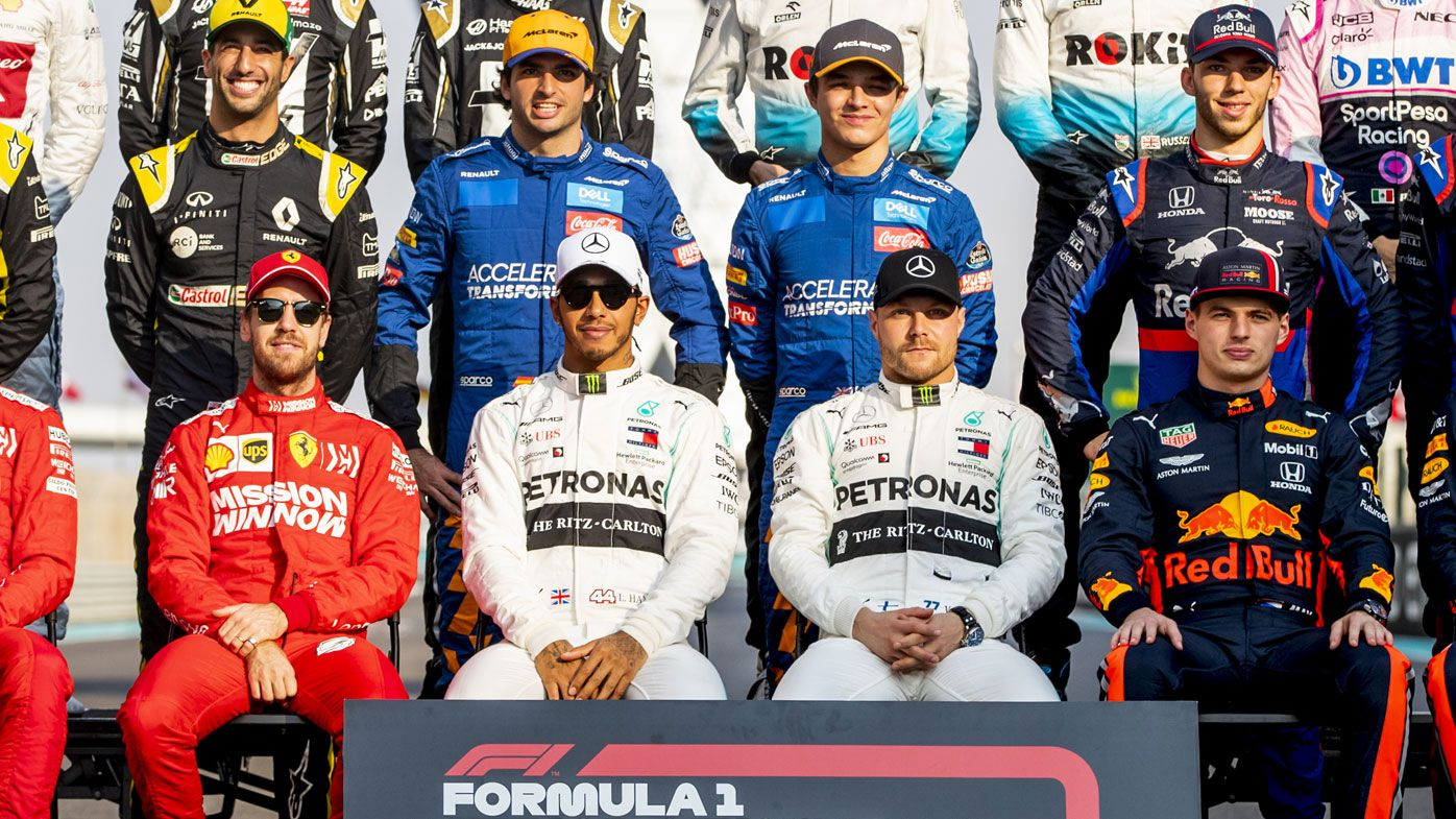 The F1 Drivers Class of 2019 photo is taken on track before the season-ending Grand Prix of Abu Dhabi