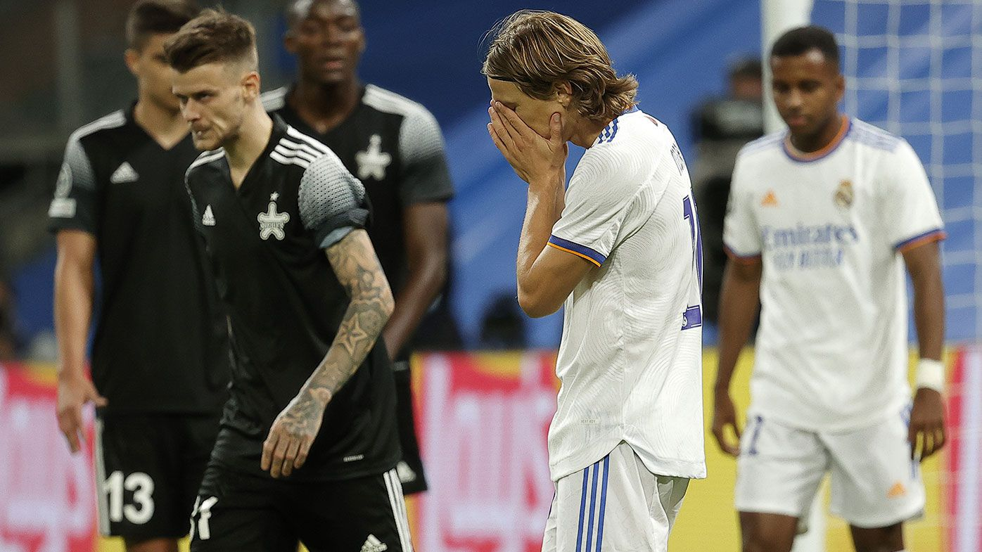 Luka Modric (2nd R) of Real Madrid is seen during the UEFA Champions League Group D match between Real Madrid and Sheriff at Santiago Bernabeu in Madrid, Spain on September 28, 2021. (Photo by Burak Akbulut/Anadolu Agency via Getty Images)