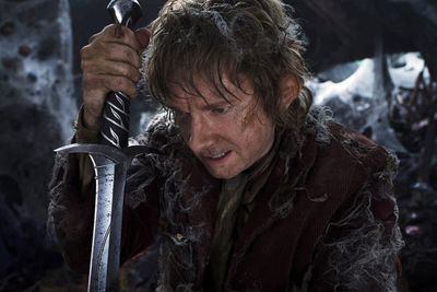 """By this time [in the third film] he is just a bit more comfortable with it,"" Martin Freeman said of his character Bilbo Baggins. ""He's never going to like fighting and he's never going to enjoy killing or anything, and he's scared still, as he should be. But he's just more used to it.<br/><br/>""[But] he definitely gets involved...because he's covered in blood, orc blood, so he has been amongst it. He's been making himself known. Yeah, so he has clearly got better at fighting. I think he's still shaky, but miraculously, he has learnt how to defend himself."""