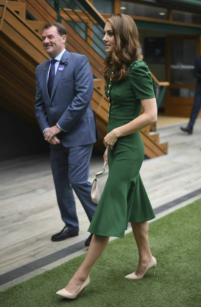 Kate arrives for the Women's Final match on day twelve of the Wimbledon Tennis Championships in 2019.
