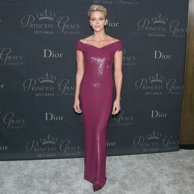Princess Charlene wearing Ralph Lauren at the 2017 Princess Grace Awards Gala in October, 2017