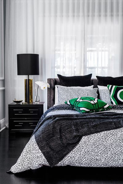 "<p>Aquarius Black quilt cover set queen size $299.95, <a href=""http://www.gregnatale.com/collection/quilt-sets-euros"" target=""_blank"">Greg Natale Home</a>, <a href=""http://www.myer.com.au/"" target=""_blank"">Myer</a></p>"
