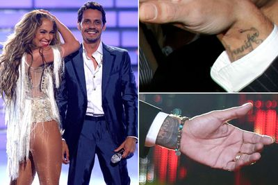 "Marc Anthony inked his wrist with ""Jennifer"" while married to JLo. Bad move! They split in 2011, but it didn't take long for Marc to cover up the tatt with a Statue of Liberty. Why that iconic figure?<br><br>Well, he calls girlfriend, Venezuelan model Shannon De Lima, his ""Statue of Liberty"". Vom-town!<br><br>Images: Getty"
