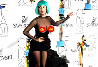 Lady Gaga attended the same event in a similarly see through number in 2011. Hello wardrobe malfunction!
