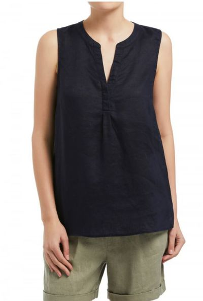 "<a href=""https://www.sussan.com.au/newin/sleeveless-linen-top-navy"" target=""_blank"" draggable=""false"">Sussan Sleeveless Linen Top, $79.95.</a>"