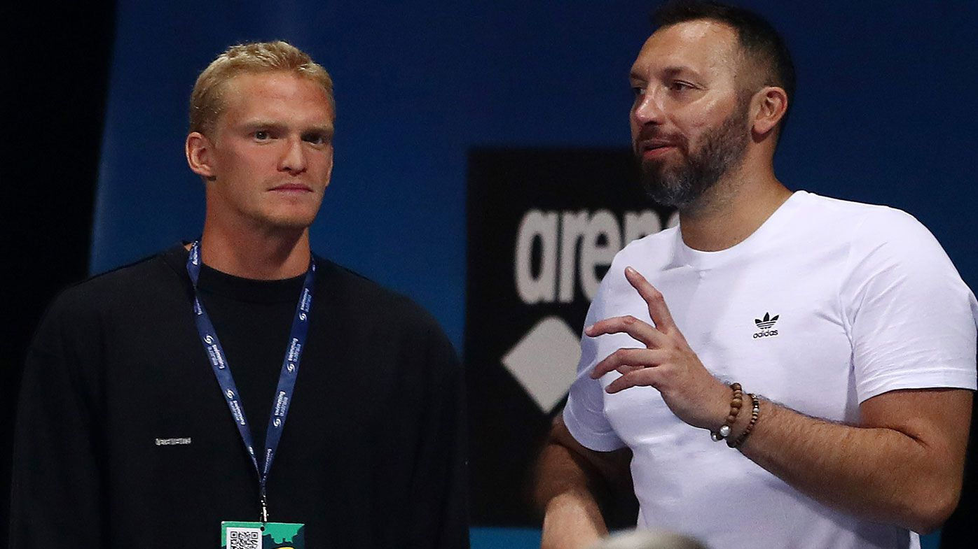 Cody Simpson and Ian Thorpe talk during the 2021 Australian Swimming Championships at the Gold Coast Aquatic Centre on April 15, 2021 in Gold Coast, Australia. (Photo by Chris Hyde/Getty Images)