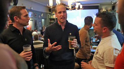 Frank Lampard and Prince William, Duke of Cambridge join football fans who have been supported by mental health charities Mind and CALM to watch the England vs Czech Republic match at the Prince Albert pub on October 11, 2019 in London, England