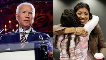 Joe Biden and Lucy Flores.