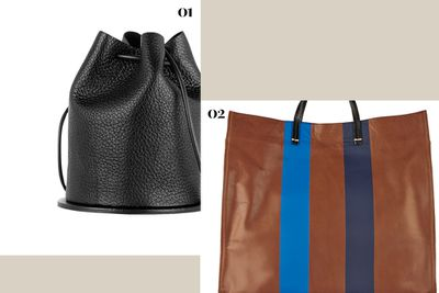 """<p><b>01.</b> <a href=""""http://www.net-a-porter.com/au/en/product/536916"""" target=""""_blank"""">Building Block Disc Textured-Leather Bucket Bag, $426, Finds +</a></p><p><b>02.</b> <a href=""""http://www.net-a-porter.com/au/en/product/505083"""" target=""""_blank"""">Simple Coated-Leather Tote, $552, Clare V</a></p>"""