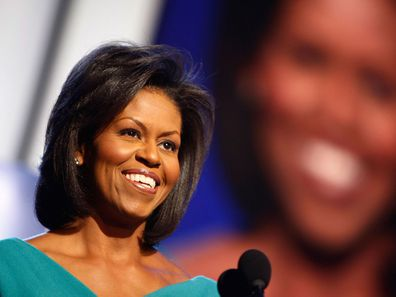 Michelle Obama speaks at the 2008 Democratic National Convention.