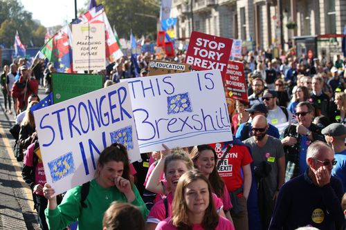 Protesters demanded a final say on the Brexit deal.