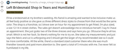 The bridesmaid has described the painful experience on Reddit.