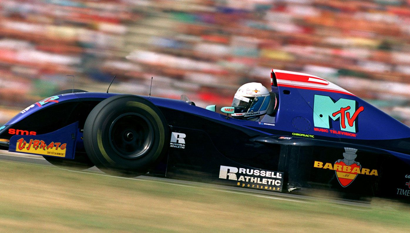 David Brabham driving for Simtek at the 1994 German Grand Prix.