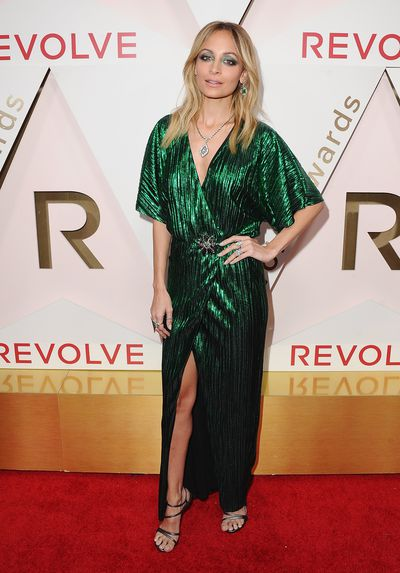 "Actress Nicole Richie in a dress from her own label, <a href=""https://www.houseofharlow1960.com/"" target=""_blank"" draggable=""false"">House of Harlow 1960</a> in  November, 2017"