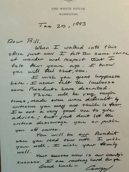 The letter George HW Bush left for Bill Clinton when he became US president.