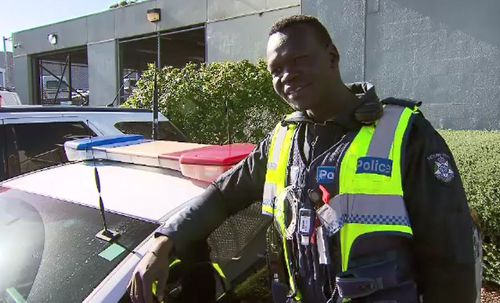Constable Kur Thiek is Victoria Police's first South Sudanese officer.