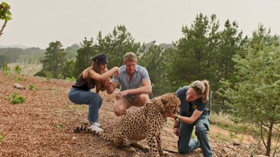 Lizzie and Seb go walking with a cheetah on their Final Date on Married At First Sight 2020.