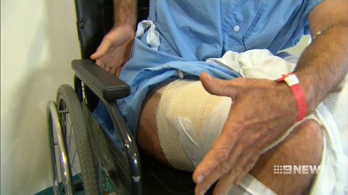 The surfer underwent surgery to repair his mauled leg. (9NEWS)