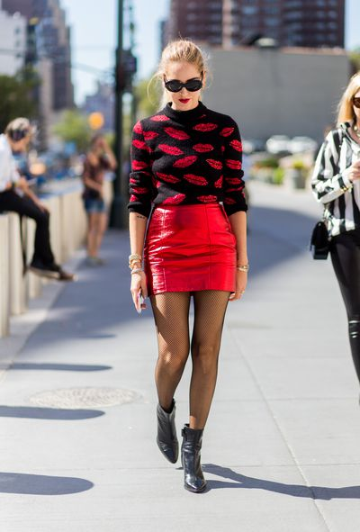 Chiara Ferragni outside Jeremy Scott in Saint Laurent at New York Fashion Week