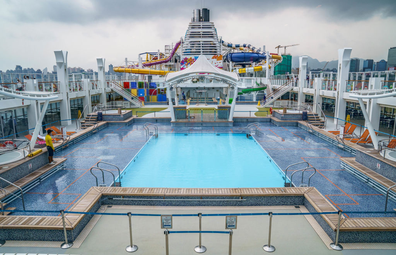 The swimming pool on board the Genting Cruise Lines Genting Dream during a media tour of the cruise ship while berthed in Hong Kong, China, on Wednesday, July 28, 2021.
