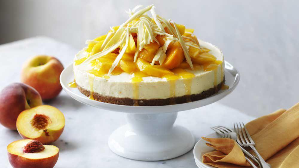 Peach cheesecake with peach syrup