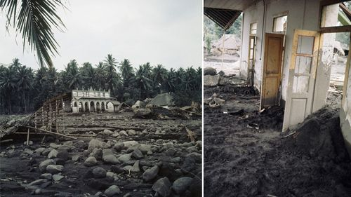 Villages almost completely reduced to ash after 1963 eruption of Agung volcano in 1963. (AAP)