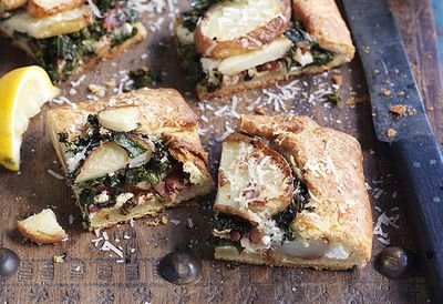 Potato, kale and pancetta tarts