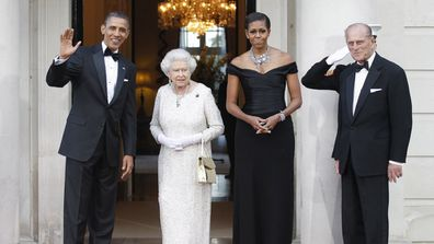 The Obamas, the Queen and Prince Philip at a reciprocal dinner at Winfield House in London, Wednesday, May 25, 2011.