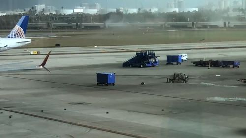 However, it was able to fling baggage around the tarmac. (Storyful/James Couch)