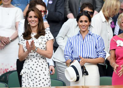 The Duchess of Cambridge in Jenny Packham and Meghan Markle in Ralph Lauren at Wimbledon 2018