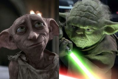 At first the characters of Yoda and Dobby (wise old sage, simpering ex-slave) couldn't be more different, but take a close look. It's all in the award-winning voice talent, the stature and the pointy ears. And (spoilers!) they both have the saddest deaths.