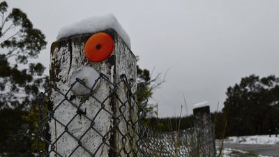 Power is out in Lithgow after snow falls and wild winds. (Daniel Hawken)