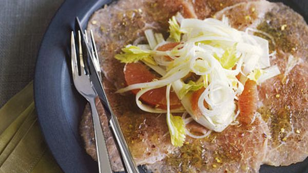 Veal carpaccio with ruby grapefruit and celery salad