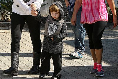 Christina Aguilera and ex-usband Jordan Bratman took their son Max to a Halloween party dressed as a medieval knight.