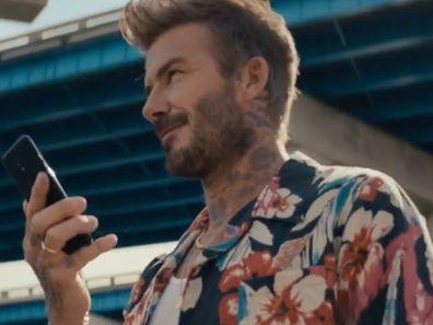 David Beckham in a Saint Laurent aloha shirt.