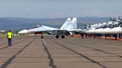 A Russian MIG fighter jet readies for take off as part of the air component of Vostok 2018.
