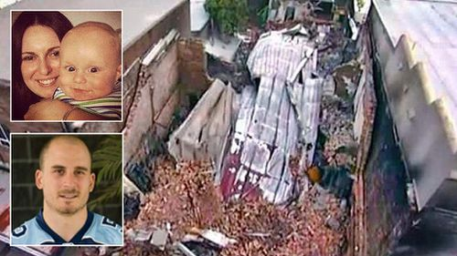 An aerial view of the building in Rozelle after the explosion and, inset, its victims Bianka and Jude O'Brien and neighbour Chris Noble.