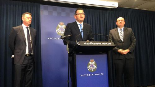 Victorian Police Minister Wade Noonan, Premier Daniel Andrews and new Chief Commissioner Graham Ashton. (Andrew Lund, 9NEWS)