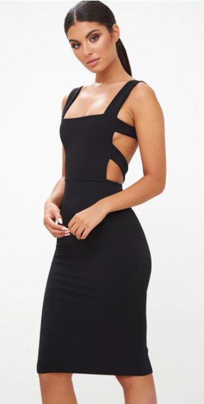 "<a href=""https://www.prettylittlething.com.au/black-cage-side-straight-neck-midi-dress.html"" target=""_blank"">Pretty Little Thing Black Cage Side Straight Neck Midi Dress, $36.</a>"